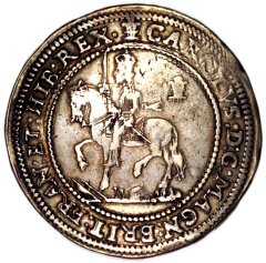Equestrian Portrait of Charles on a Silver Half Pound