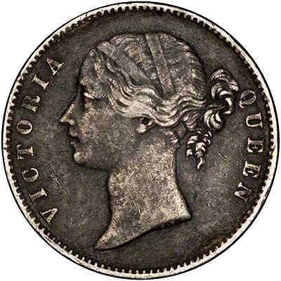 Obverse of 1840 India Silver One Rupee
