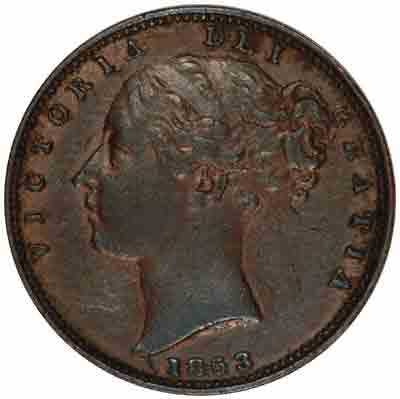 Obverse of Young Head Victoria Copper Farthing