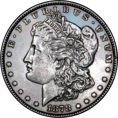 Obverse of 1878 american morgan type silver dollar