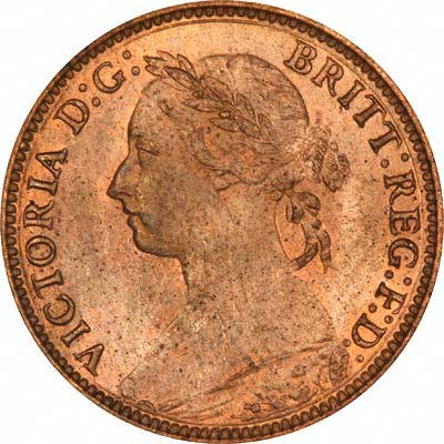 Obverse of Young Head Bronze Farthing 1881-H