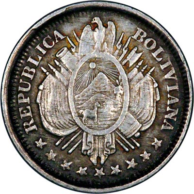Obverse Of 1887 Bolivian 20 Cents