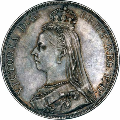 Obverse of 1888 Victoria Jubilee Head Crown