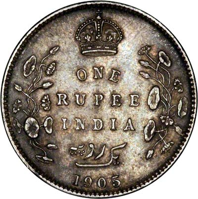 Reverse of 1905 India One Rupee