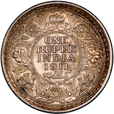Reverse of 1911 India One Rupee