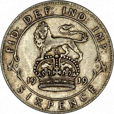 Reverse of 1919 Sixpence