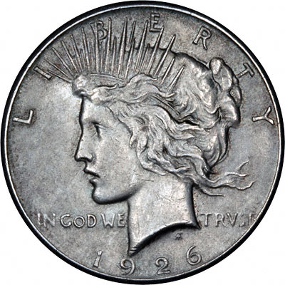 Obverse of 1926 American Peace Type Silver Dollar