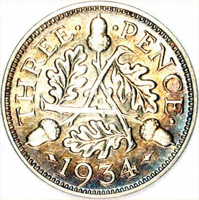 Reverse of 1934 Silver Threepence