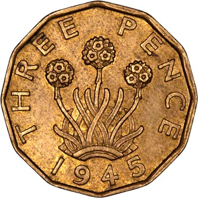 Reverse of 1945 Brass Threepence