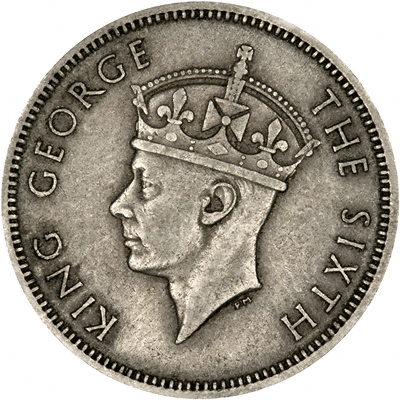 Obverse of 1948 British Malaya 20 Cents