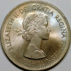 Young Head Portrait of Elizabeth II on 1960 Crown