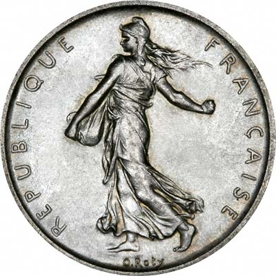Obverse of 1960 French Silver 5 Francs