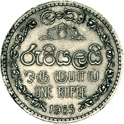 Obverse of 1963 India One Rupee