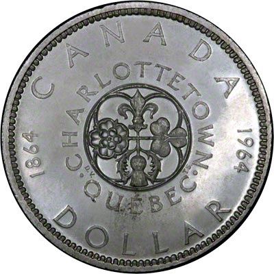 Reverse of 1964 Canada Silver Dollar - Charlottetown Quebec