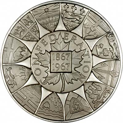 Reverse of Silver Medallions of 1867 Canadian Confederation Centennial 1967 by John Pinches