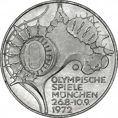 Reverse of 1972D Germany 20 Marks