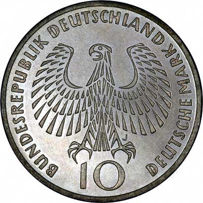 Obverse of 1972 Germany 10 Marks