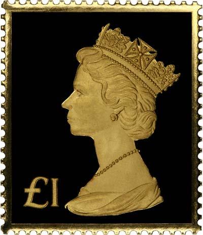 Gold Replica Stamps 1973 £1 Machin Gold Stamp
