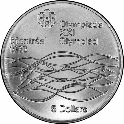 Reverse of 1973 Canada 5 Dollars - Swimmer