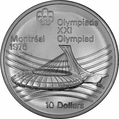 Reverse of 1973 Candian 10 Dollars - Olympic Stadium