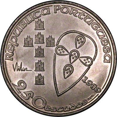 Obverse of 1989 Portugal 250 Escudos
