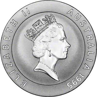Obverse of 1995 Australia Silver Proof Ten Dollars