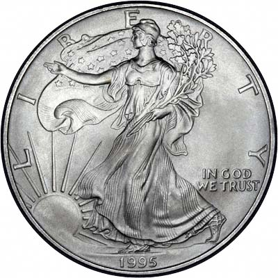 Obverse of 1996 American One Dollar Silver Proof Coin