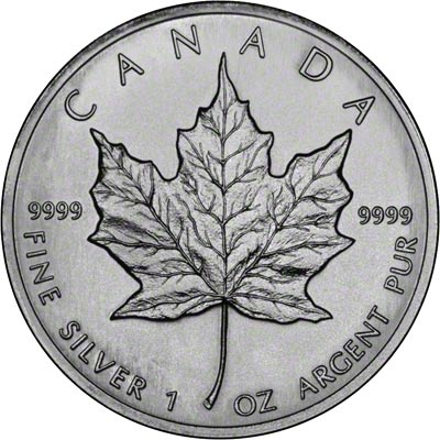 Reverse of 1996 One Ounce Silver Maple