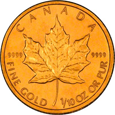 Reverse of 1996 Tenth Ounce Gold Maple
