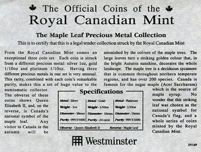 Canadian Maple Leaf Precious Metal Collection Certificate