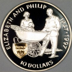 Queen Elizabeth & Prince Philip on 1997 Pitcairn Island Silver 10 Dollars