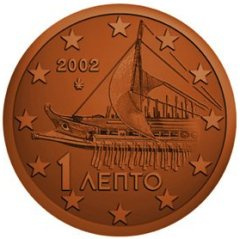 Obverse of Greek 1 Euro Cent Coin