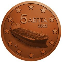 Obverse of Greek 5 Euro Cent Coin