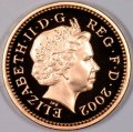 Fourth Portrait on Obverse of Gold Proof 2002 Pound Coin