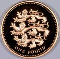 English Three Lions on Reverse of 2002 Pound Coin in Gold