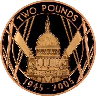 Reverse of Gold Proof 2005 £2 Saint Pauls Cathedral