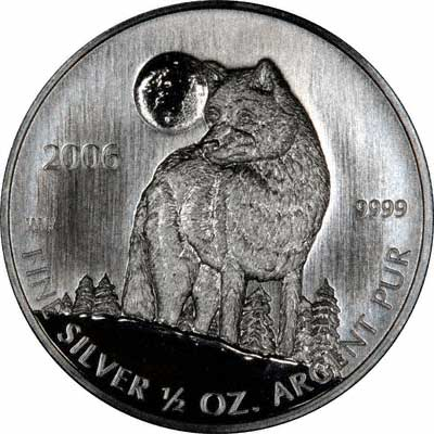 Reverse of 2006 Canadian Half Ounce Silver Wolf