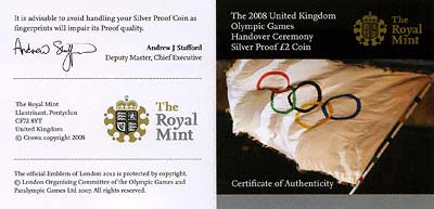 2008 Olympic Games Handover Ceremony Silver Proof Two Pound Coin Certificate
