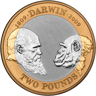 2009 Charles Darwin Silver Proof Two Pound Coin