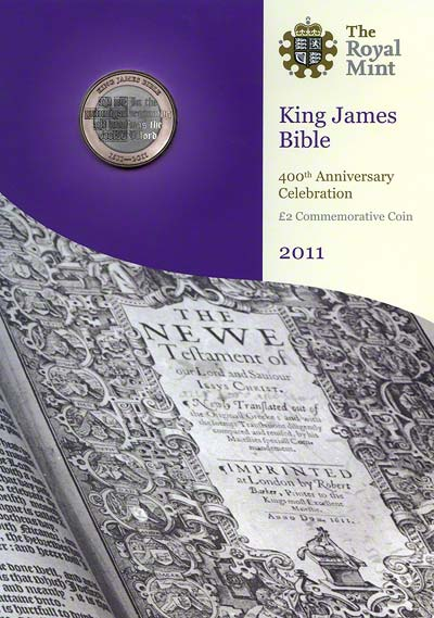 2011 King James Uncirculated Two Pound Coin in Specimen Pack