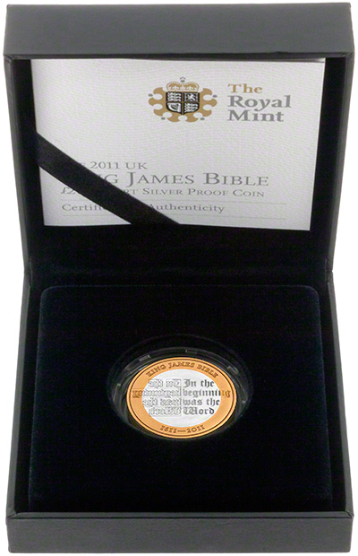 2011 King James Silver Proof Two Pound Coin in Presentation Box