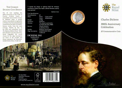 2012 Charles Dickens Uncirculated Two Pound Coin in Specimen Pack