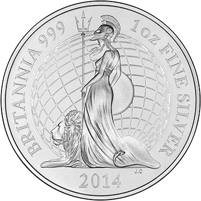 2014 One Ounce Silver Proof Britannia Reverse