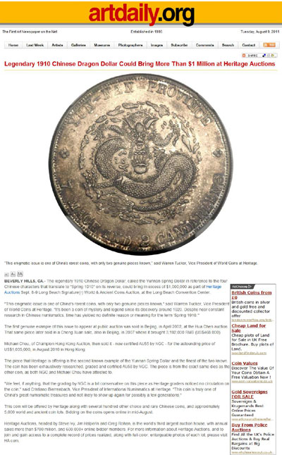 Legendary 1910 Chinese Dragon Dollar Could Bring More Than 1 Million at Heritage Auctions