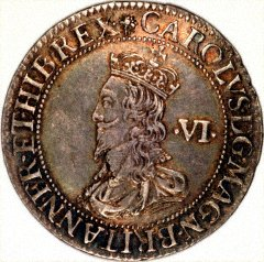 Charles I on a Silver Sixpence by Nicholas Briot