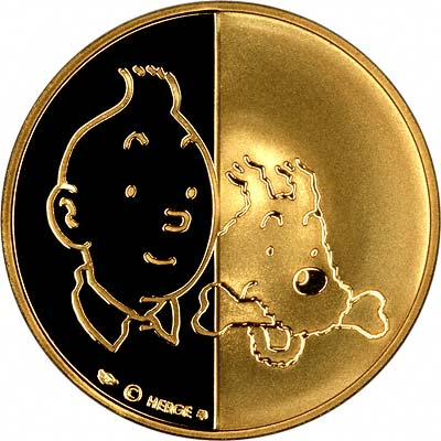 Obverse of The Twelve Adventures of Tintin Gold Medallions