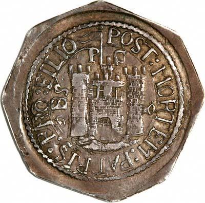 Pomfret Castle on Obverse of 1648 Charles I Pontefract Shilling