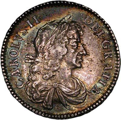 Obverse of 1671 Charles II Halfcrown
