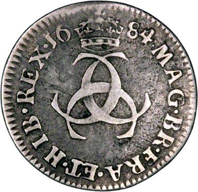 Reverse of 1684 Maundy Threepence