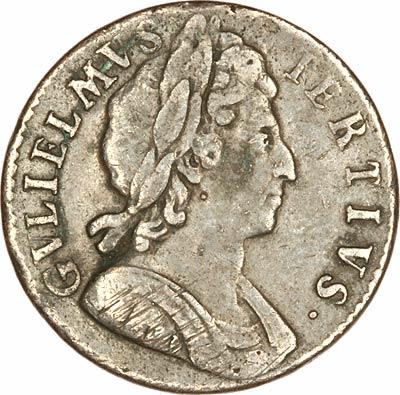 Obverse of 1699 William III Error Halfpenny